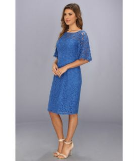 Adrianna Papell Flutter Sleeve Lace Sheath Baltic