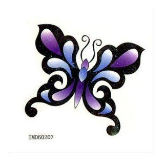 Blue Purple Butterfly Tattoo Stickers Temporary Tattoos Fake Tattoos (Paste Neck / Shoulder / Chest / Hand /, Etc.) Fashion Models Single Noble Alternative Avant garde Barcode: Beauty