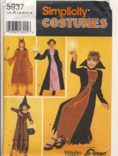 Simplicity Sewing Pattern   5937   Use to Make   Girl's Costumes Witches, Devil   Sizes 7, 8, 10, 12, 14: Everything Else