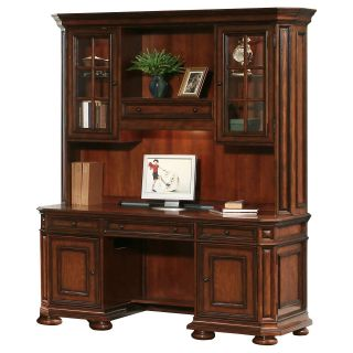 Riverside Cantata Credenza and Hutch Computer Desk   Desks
