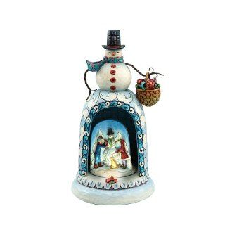 Jim Shore Heartwood Creek Snowman with Lighted Musical Revolving Kids Building Snowman Diorama Scene Figurine, 10 3/4 Inches   Holiday Figurines