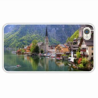 Customise Apple Iphone 4 4S City Austria Lake Homes Church City Of Romantic Present White Case Cover For Everyone: Cell Phones & Accessories