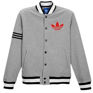 adidas Originals Fleece Varsity Jacket   Mens   Casual   Clothing   Cardinal/Dark Grey Heather