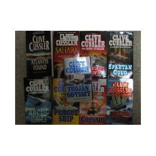 Nine Clive Cussler Paperbacks (Plague Ship; Corsair; Spartan Gold; Arctic Drift; Trojan Odyssey; Treasure of Khan; Crescent Dawn; Atlantis Found; Sahara): Clive Cussler: Books