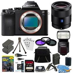 Sony ILCE 7S/B a7S Full Frame Camera, 55mm Lens, 64GB Card, 2 Batteries, Flash B