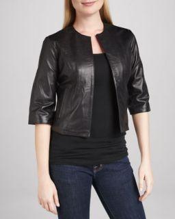 Womens Leather Half Sleeve Bolero Jacket   Black (LARGE/12 14)