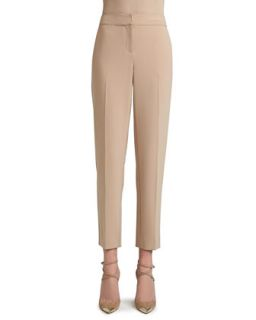 Womens Crepe Marocain Cropped Emma Pants with Pockets   St. John Collection