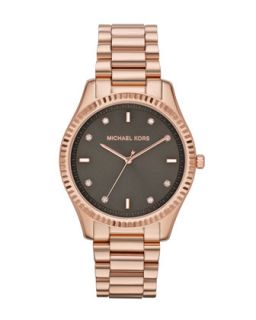 Mid Size Rose Golden Stainless Steel Blake Three Hand Glitz Watch   Michael