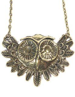 Flying Owl Necklace Vintage Bird Animal Pendant Gold Tone Retro Statement Fashion Jewelry Jewelry