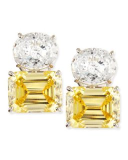 White Oval & Canary Emerald Cut Stud Earrings   Fantasia by DeSerio