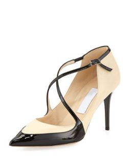 Madera Crisscross Point Toe Pump, Nude/Black   Jimmy Choo   Nude/Black (38.5B/8.