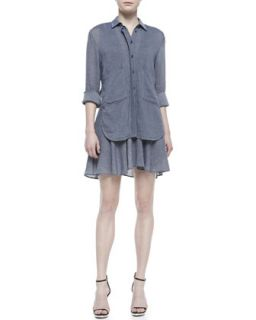 Womens Tiered Two Pocket Shirtdress   10 Crosby Derek Lam   Slate (6)