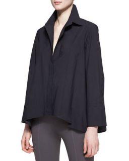 Womens Long Sleeve Button Up Cotton Shirt, Black   Donna Karan   Black (14)