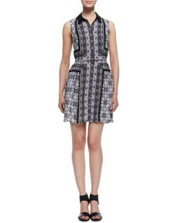 Womens Sleeveless Printed Georgette Shirtdress   Ali Ro   Black/White (6)