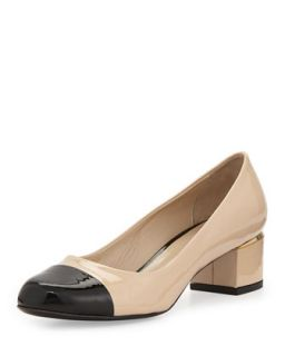 Livia Cap Toe Block Leather Pump, Nude/Black   Delman   Nude (36.0B/6.0B)
