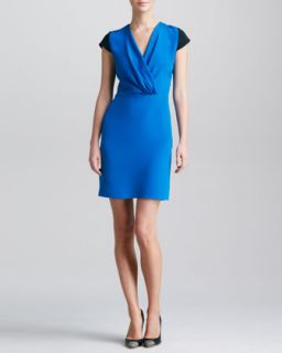 Womens Colorblock Surplice Dress   Derek Lam   Cobalt/Black (44/8)