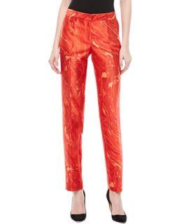 Womens Samantha Agate Print Shantung Skinny Pants   Michael Kors   Coral multi
