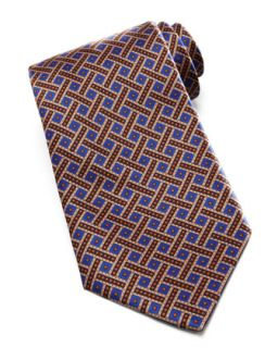 Mens Weave & Dot Silk Tie, Blue/Gold   Stefano Ricci   Blue