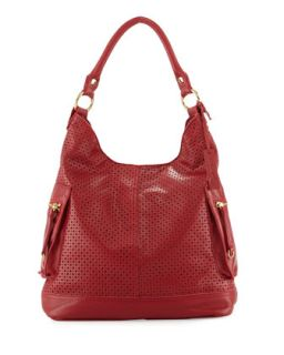 Dylan Perforated Leather Hobo Bag, Poppy   Linea Pelle