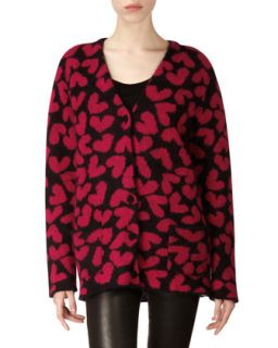 Womens Long Sleeve Heart Mohair Blend Cardigan   Saint Laurent   Rouge/Noir (X