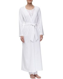 Womens Maya Long Stretch Knit Robe, White   La Perla   White (LARGE)