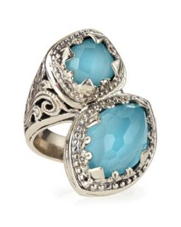 Turquoise & Rock Crystal Doublet Bypass Ring   Konstantino   Turquoise (7)