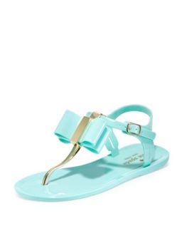 filo bow jelly thong sandal, seafoam   kate spade new york   Seafoam (37.0B/7.
