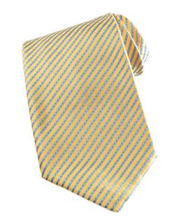 Mens Narrow Striped Silk Tie, Yellow/Blue   Stefano Ricci   Ylwblu
