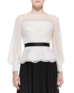 Womens Long Sleeve Lace & Georgette Top   Rickie Freeman for Teri Jon   Ivory