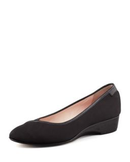 Felicity Stretch Fabric Low Wedge Shoe   Taryn Rose   Black (38.5B/8.5B)