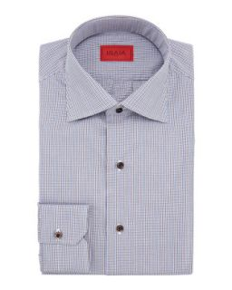 Mens Micro Check Cotton Shirt, Brown/Blue   Isaia   Blue (17 1/2)