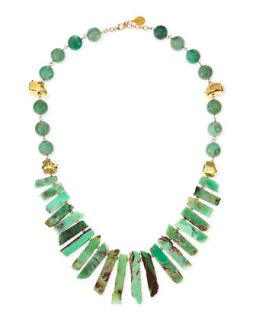 Long Chrysoprase Spike & Gold Dipped Nugget Necklace   Devon Leigh   Aqua green