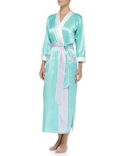 Womens Monte Carlo Satin Long Robe, Mint/Lilac   Louis at Home   Mint/Lilac