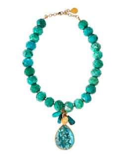 Turquoise Facet Beaded and Teardrop Necklace   Devon Leigh   Turquoise