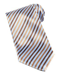 Mens Striped Silk Tie, Light Blue   Stefano Ricci   Brown
