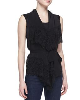Womens Gina Silk Lace Blouse   Valentina Shah   Nero (X LARGE)