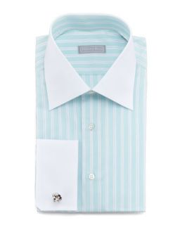 Mens Contrast Collar Striped Dress Shirt, Mint   Stefano Ricci   Mint (15 1/2)