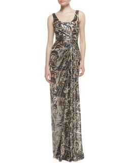 Womens Sleeveless Off Center Pleated Beaded Gown, Nude/Black   David Meister