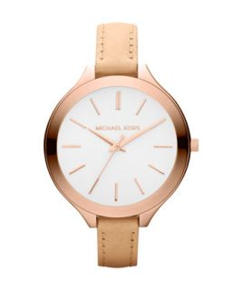 Mid Size Nude Leather Runway Watch   Michael Kors   Nude/Beige