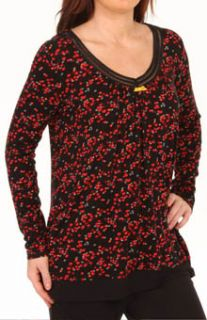 Ellen Tracy 8415308 Hello to Holiday Charm Long Sleeve Scoop Top