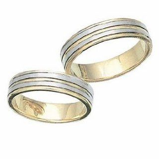 Two Tone Comfort Fit 14k Gold His And Hers Wedding Ring 6 mm: Jewelry