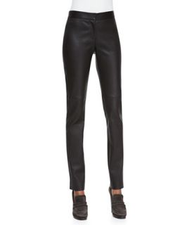 Womens Zip Front Leather Leggings   Derek Lam   Brown (42/6)