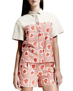 Womens Heart & Lip Print Blouse, Medium Pink   Stella McCartney   Medium pink