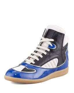 Mens Patent Leather Trimmed High Top Sneaker, Multi   Maison Martin Margiela