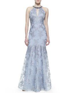 Womens Beaded Neck Lace Halter Gown   Rickie Freeman for Teri Jon   Slate (6)