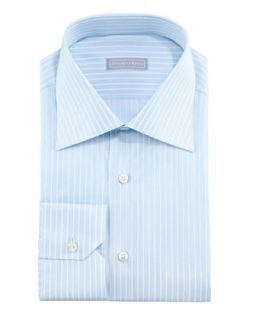 Mens Micro Dash Striped Dress Shirt, Blue/White   Stefano Ricci   Blue/White