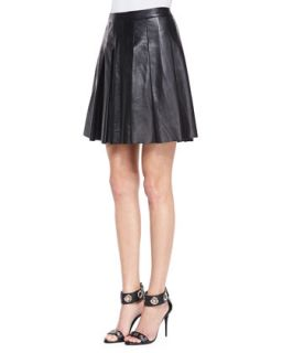 Womens Pleated Faux Leather Skirt   10 Crosby Derek Lam   Black (8)