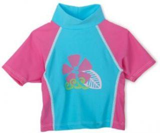 Flap Happy Girls Surf Paradise Screen Print Colorblock Rash Guard Shirt, Azure/Azalea, 12 Months Clothing