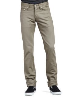 Mens WeirdGuy Selvedge Chino Pants   Naked and Famous Denim   Khaki green (33)