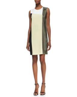 Womens Sleeveless Colorblock Dress with Mesh Insert   DKNY   Yellow/White/Blk